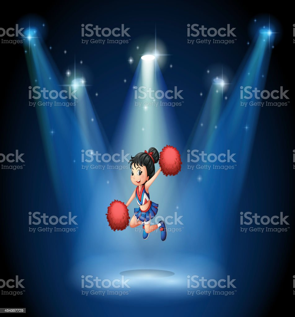 Cheerleader jumping in the middle of stage royalty-free stock vector art