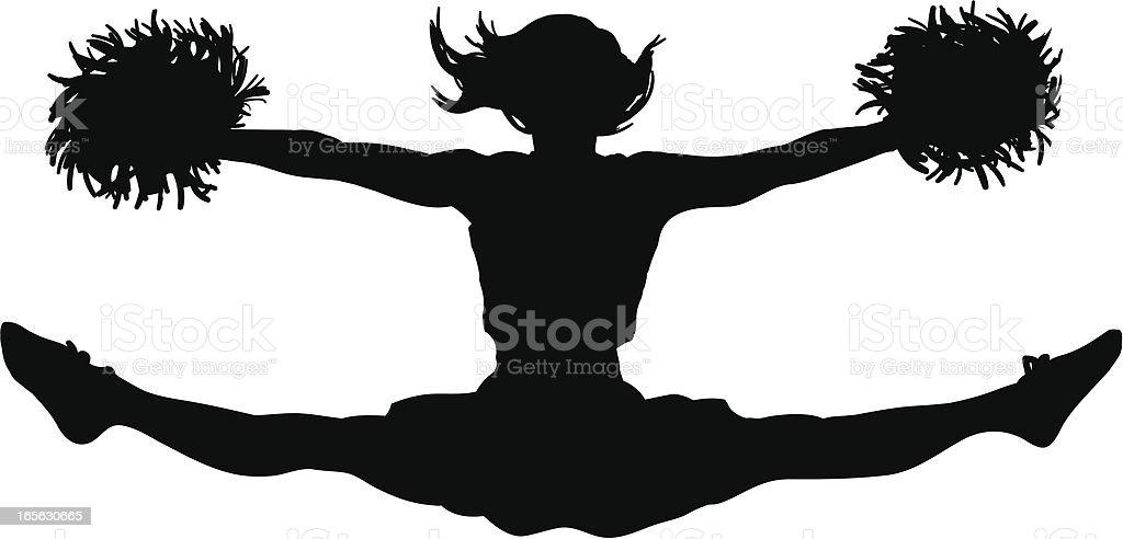 Cheerleader Jumping Splits vector art illustration