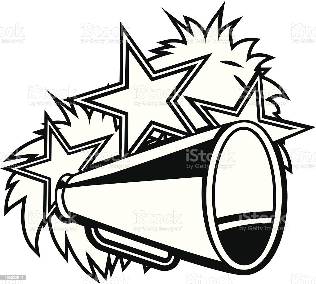 cheerleader pompoms and megaphone black white stock vector art