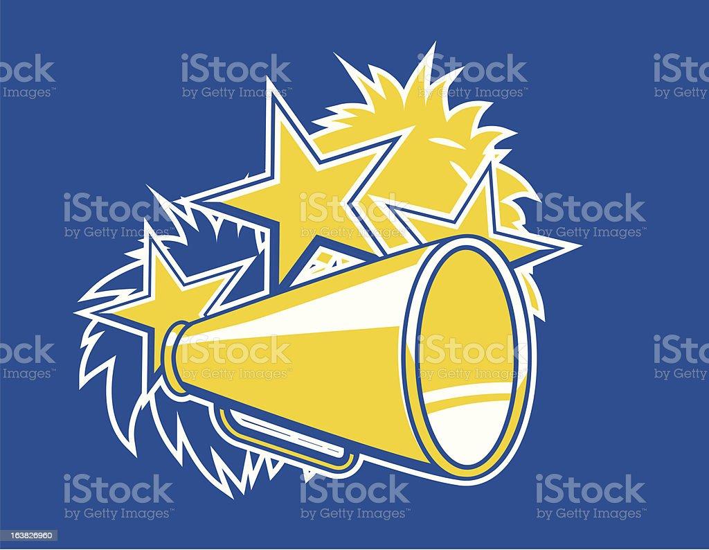 Cheerleader pompoms and megaphone vector art illustration