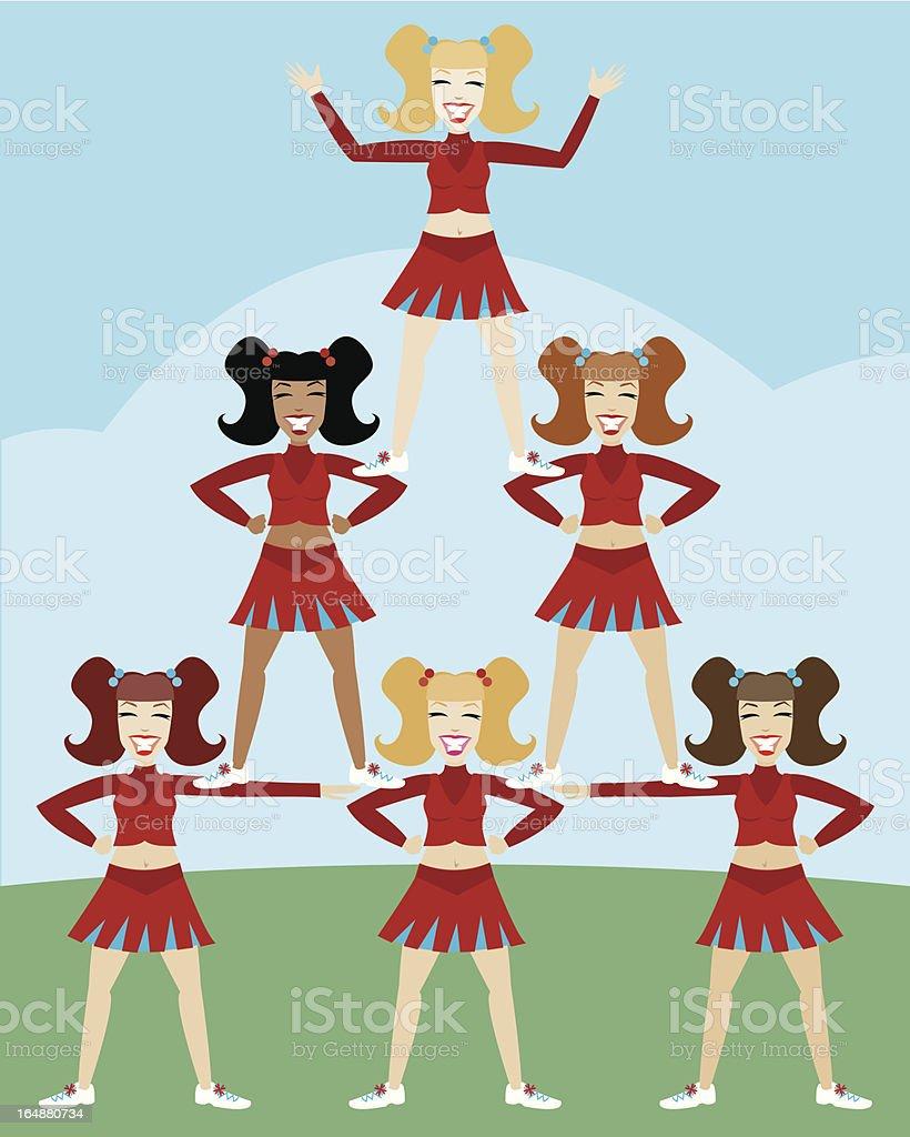 Cheerleader Pyramid vector art illustration