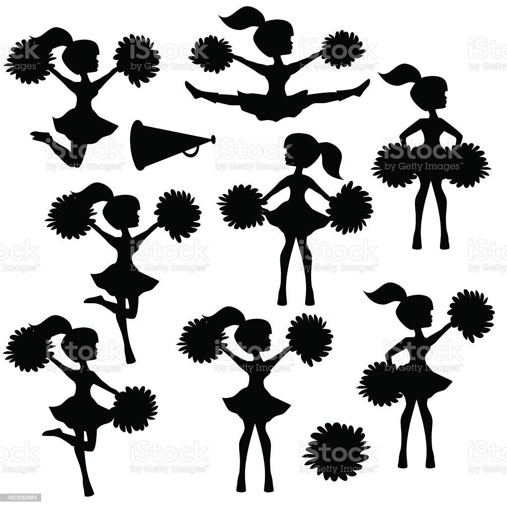 Cheerleader silhouette vector illustration vector art illustration