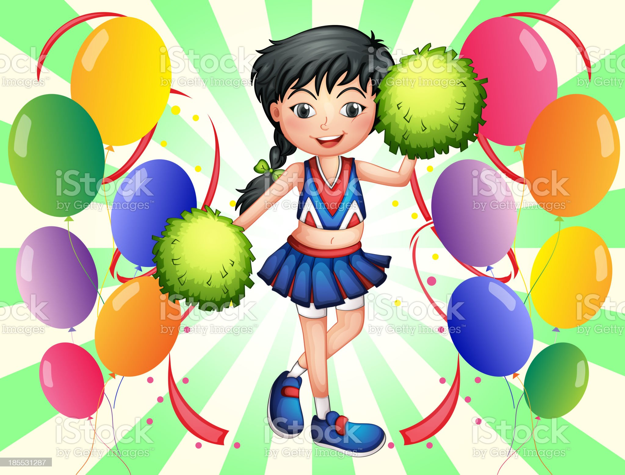 cheerleader surrounded with balloons royalty-free stock vector art