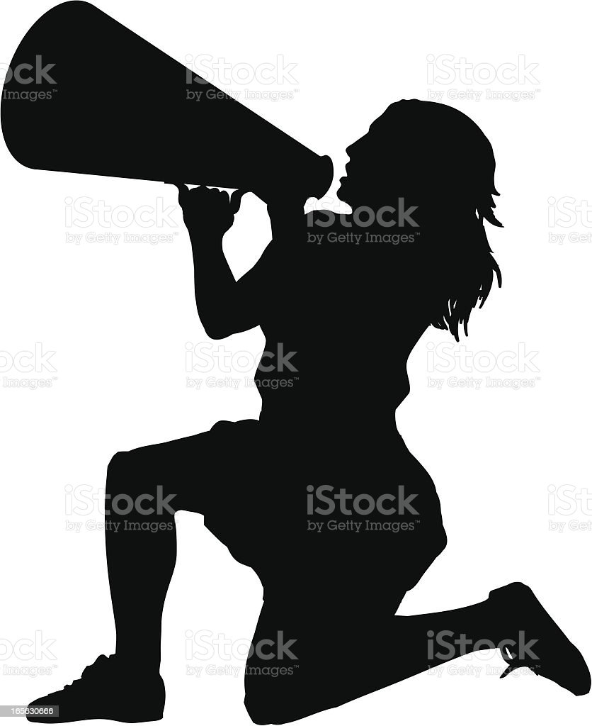 Cheerleader with Bullhorn royalty-free stock vector art