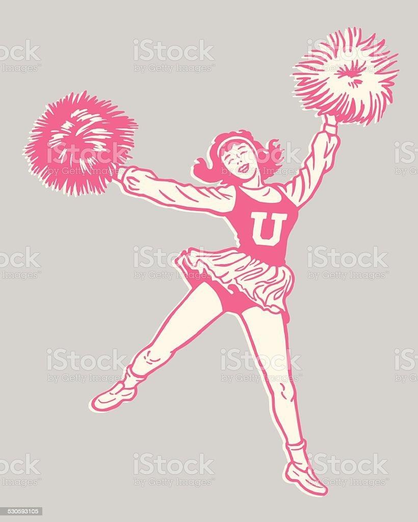 Cheerleader With Pom Poms vector art illustration