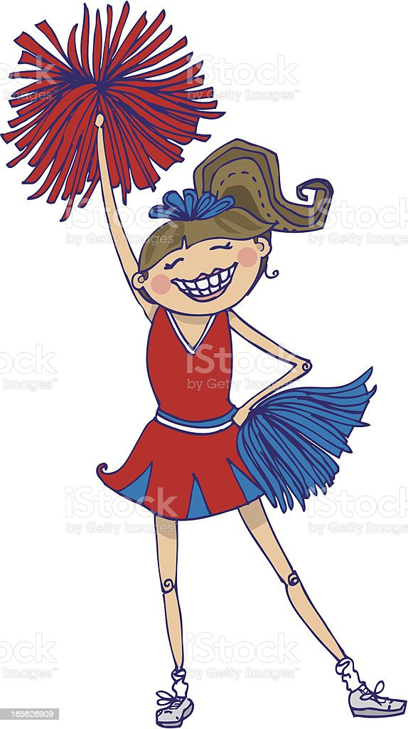 Cheerleader with pom-poms royalty-free stock vector art