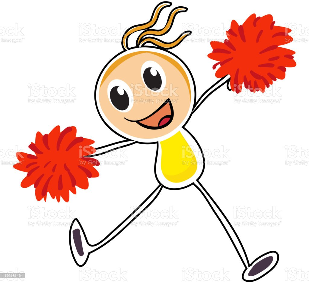 Cheerleader with red pompoms royalty-free stock vector art