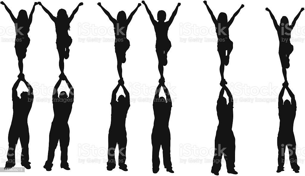 Cheerleaders vector art illustration