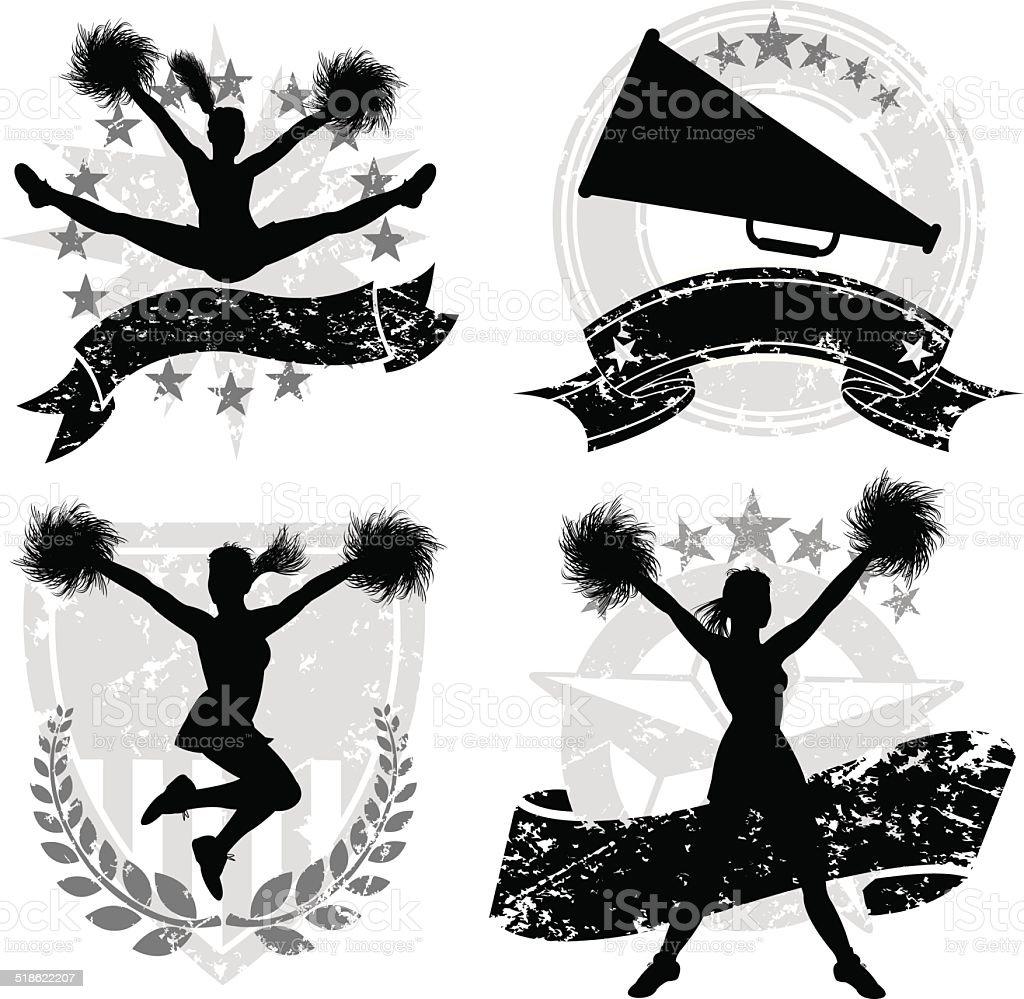 Cheerleading, Cheerleaders, Sports Icon Set vector art illustration