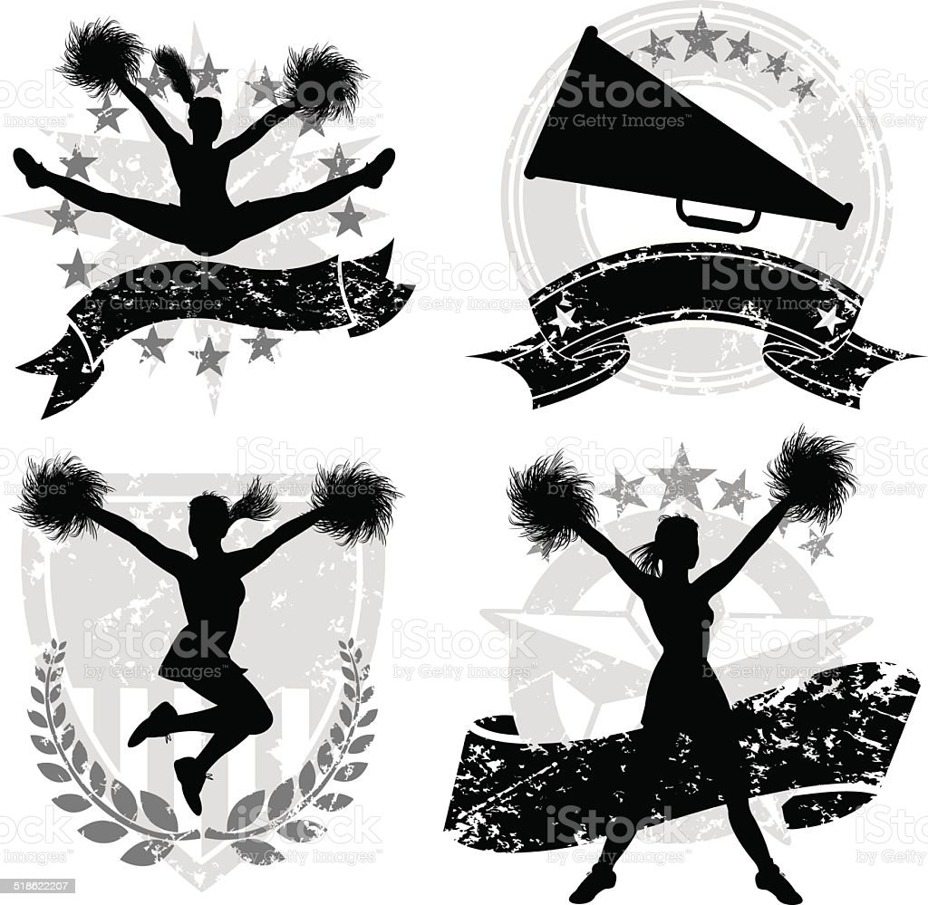 Cheerleading, Cheerleaders, Sports Icon Set vector art illustration