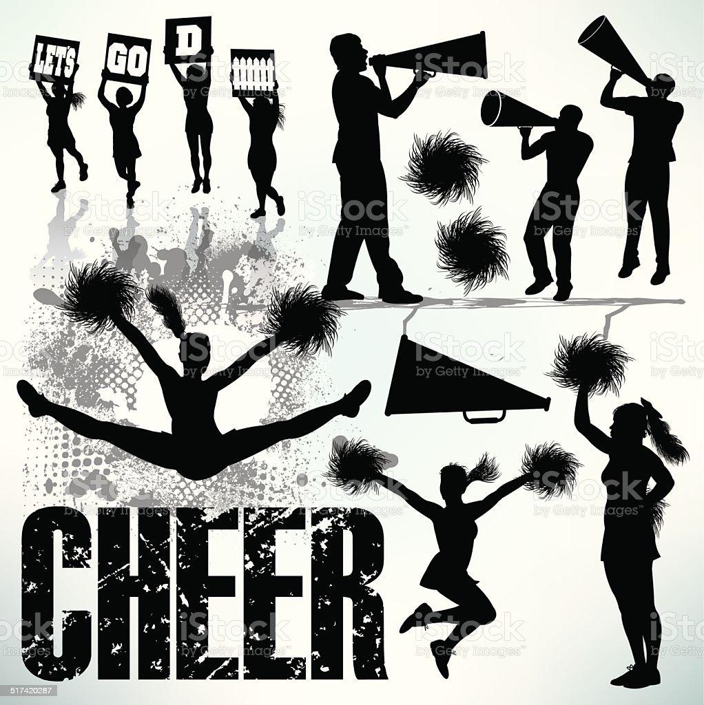 Cheerleading, Cheerleaders, Sports Set vector art illustration