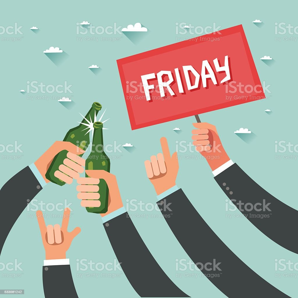 Cheers! Businessmen crowd at friday party after work vector art illustration