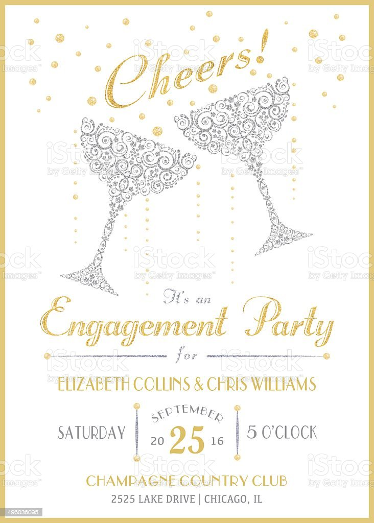 Cheers Champagne Invitation vector art illustration
