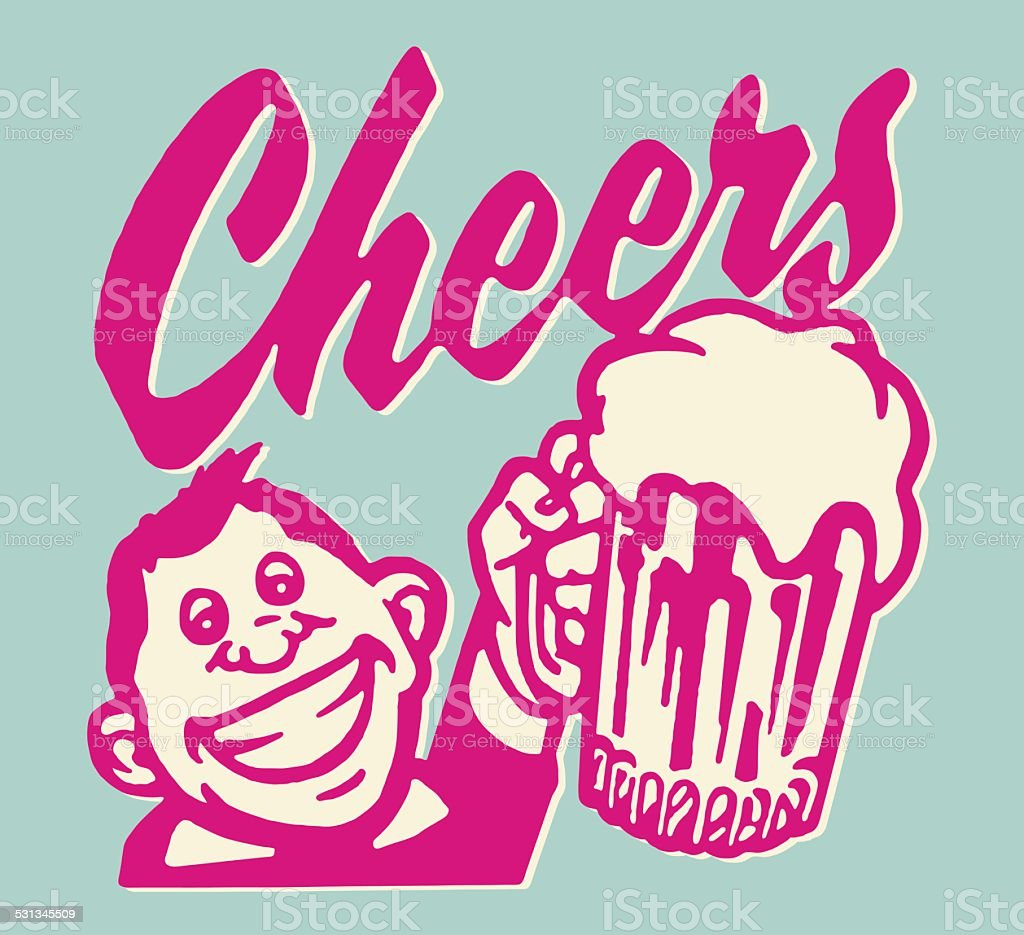Cheers! Man Raising Mug vector art illustration