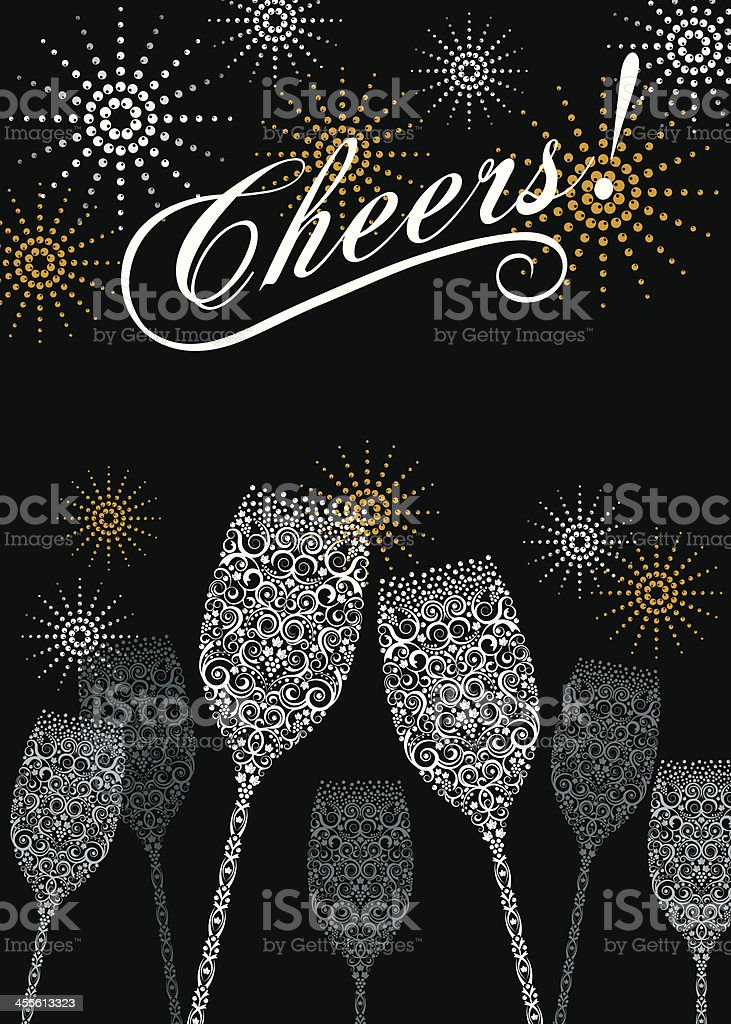 Cheers to the New Year! vector art illustration