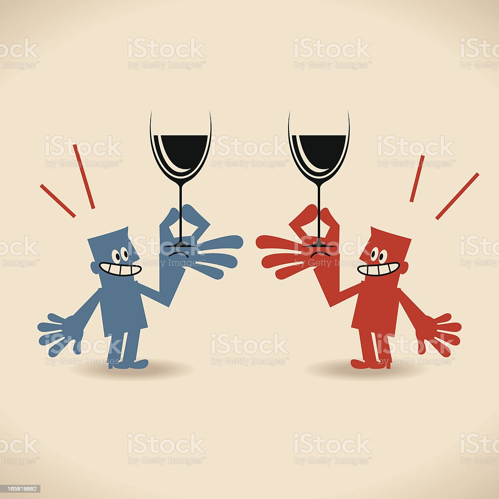 Cheers, two smiling business people (businessman) drinking wine and toasting vector art illustration