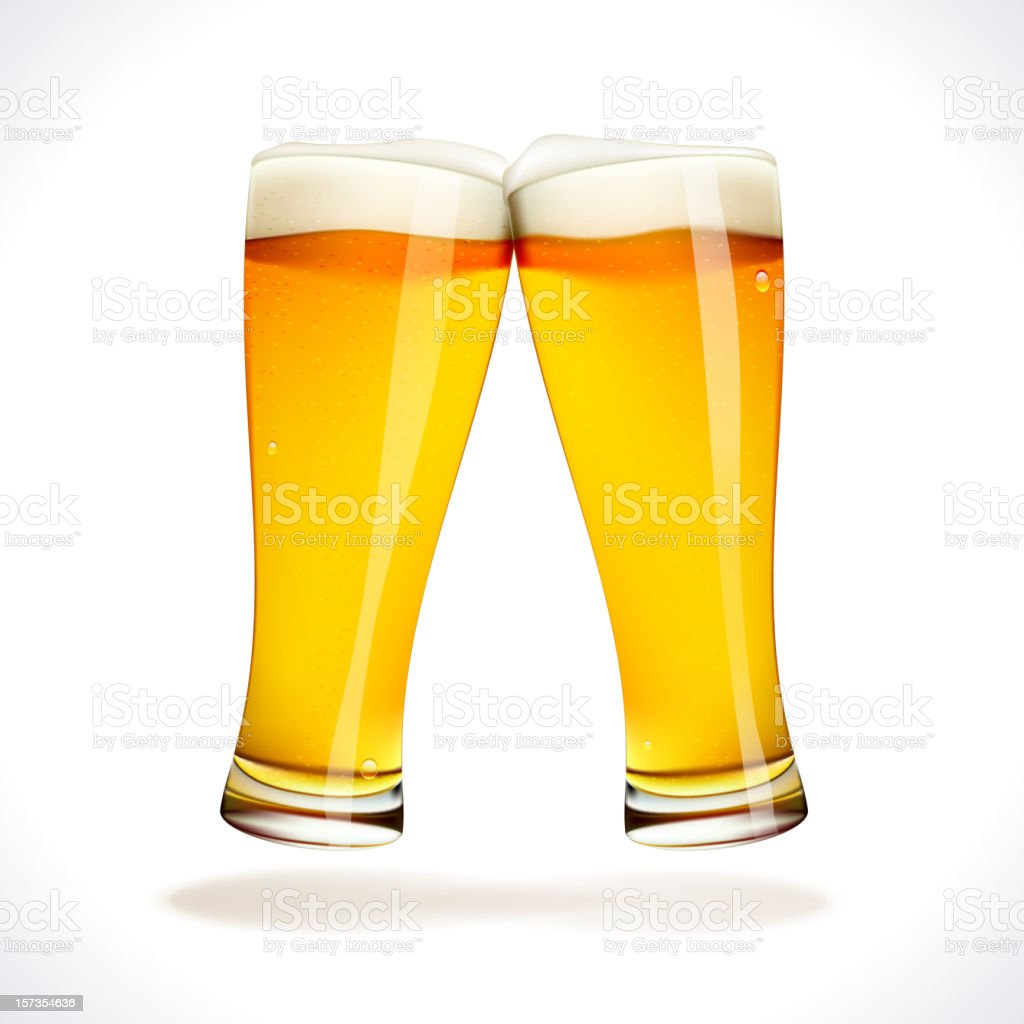 Cheers! Two splashing Beer Glasses vector art illustration