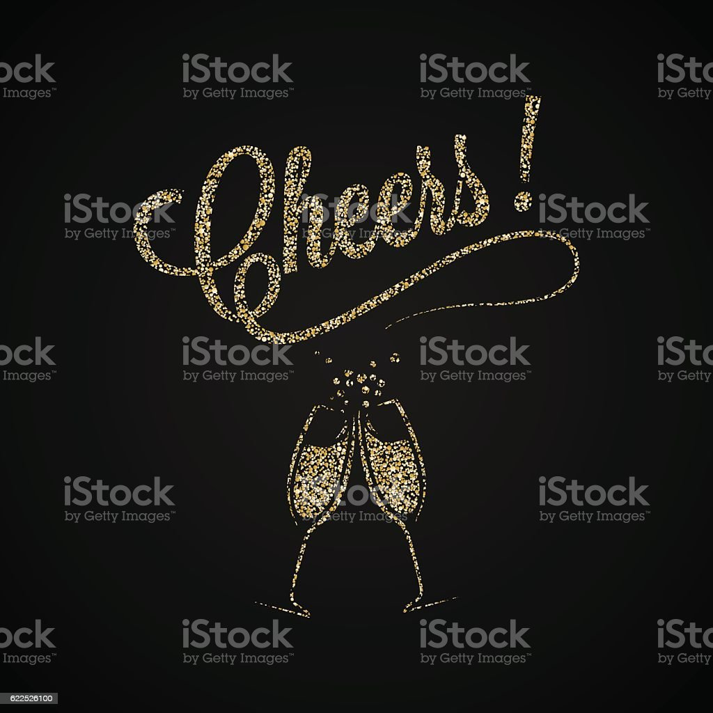 Cheers Vintage . Gold Champagne Background. vector art illustration