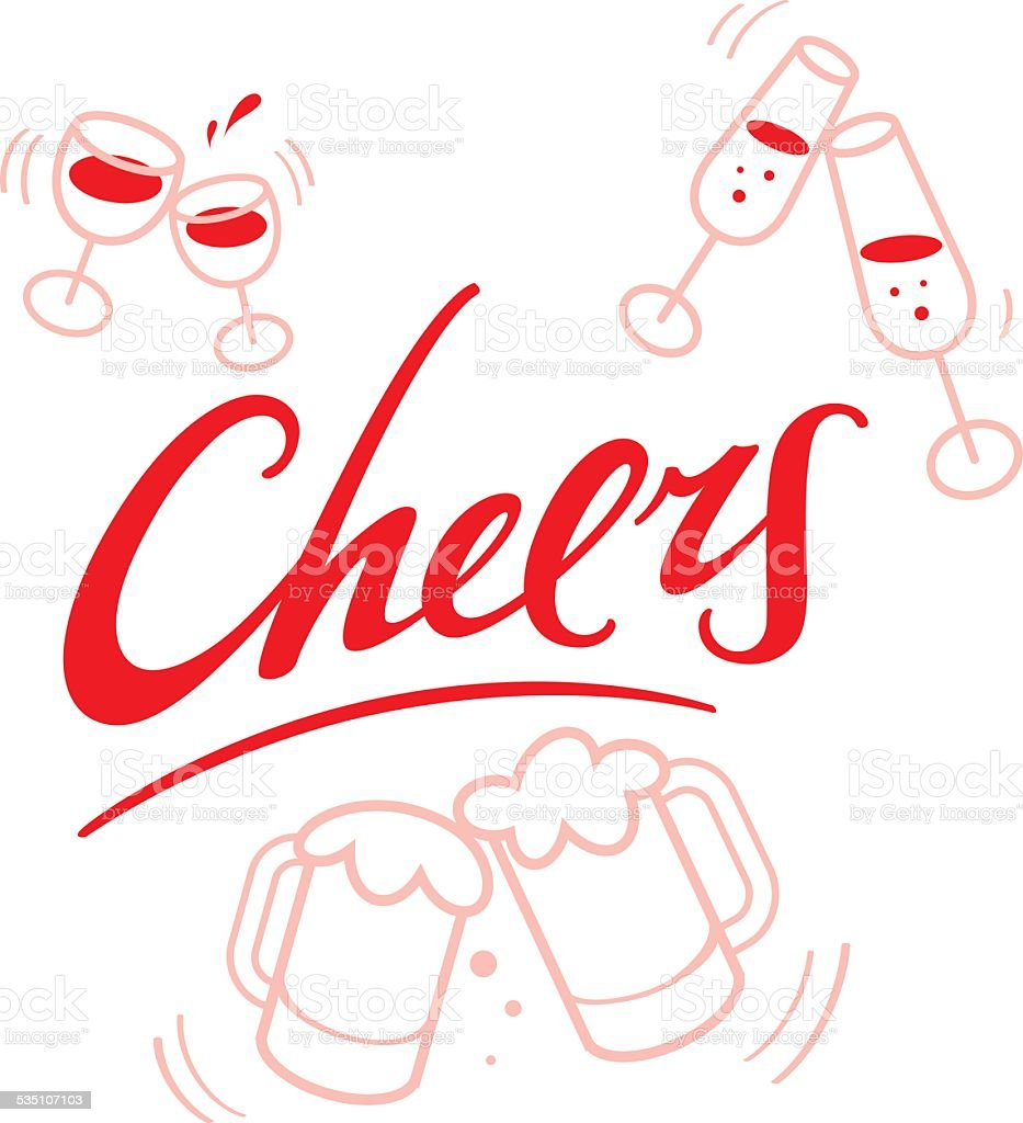 Cheers - wineglasses and beer mugs vector art illustration