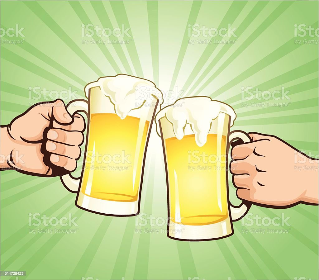 Cheers With Beer Glasses vector art illustration