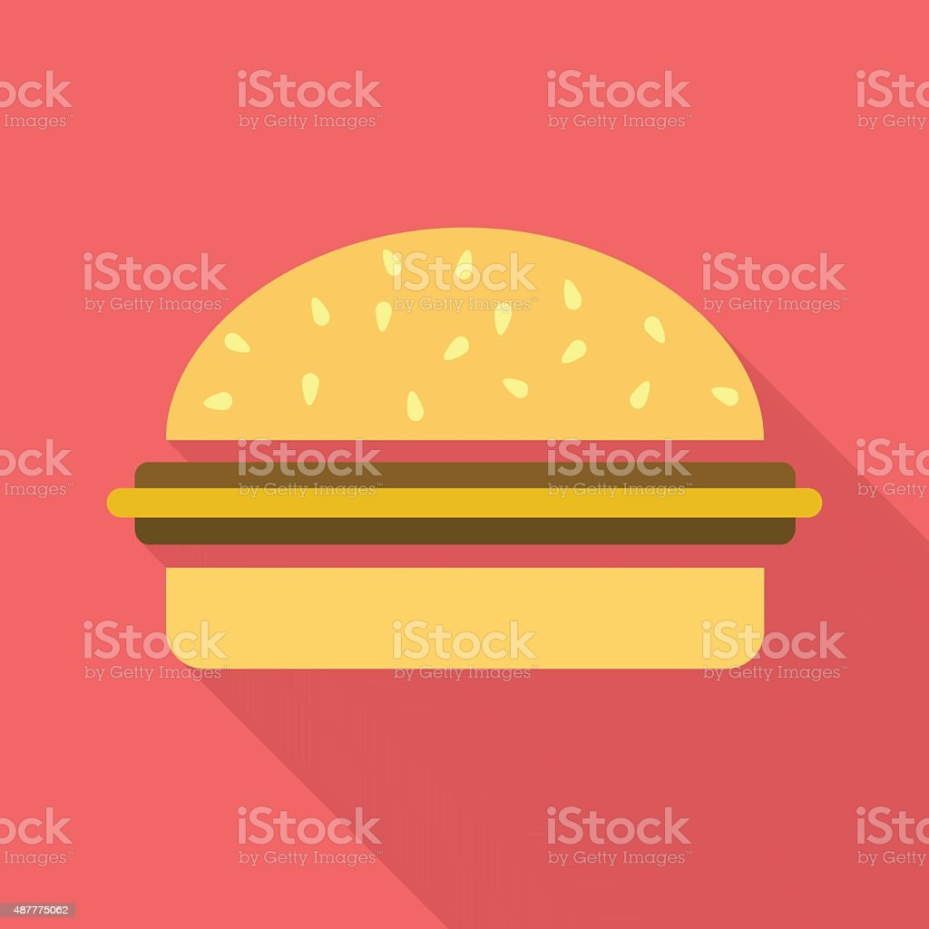 Cheesburger flat icon with long shadow vector art illustration