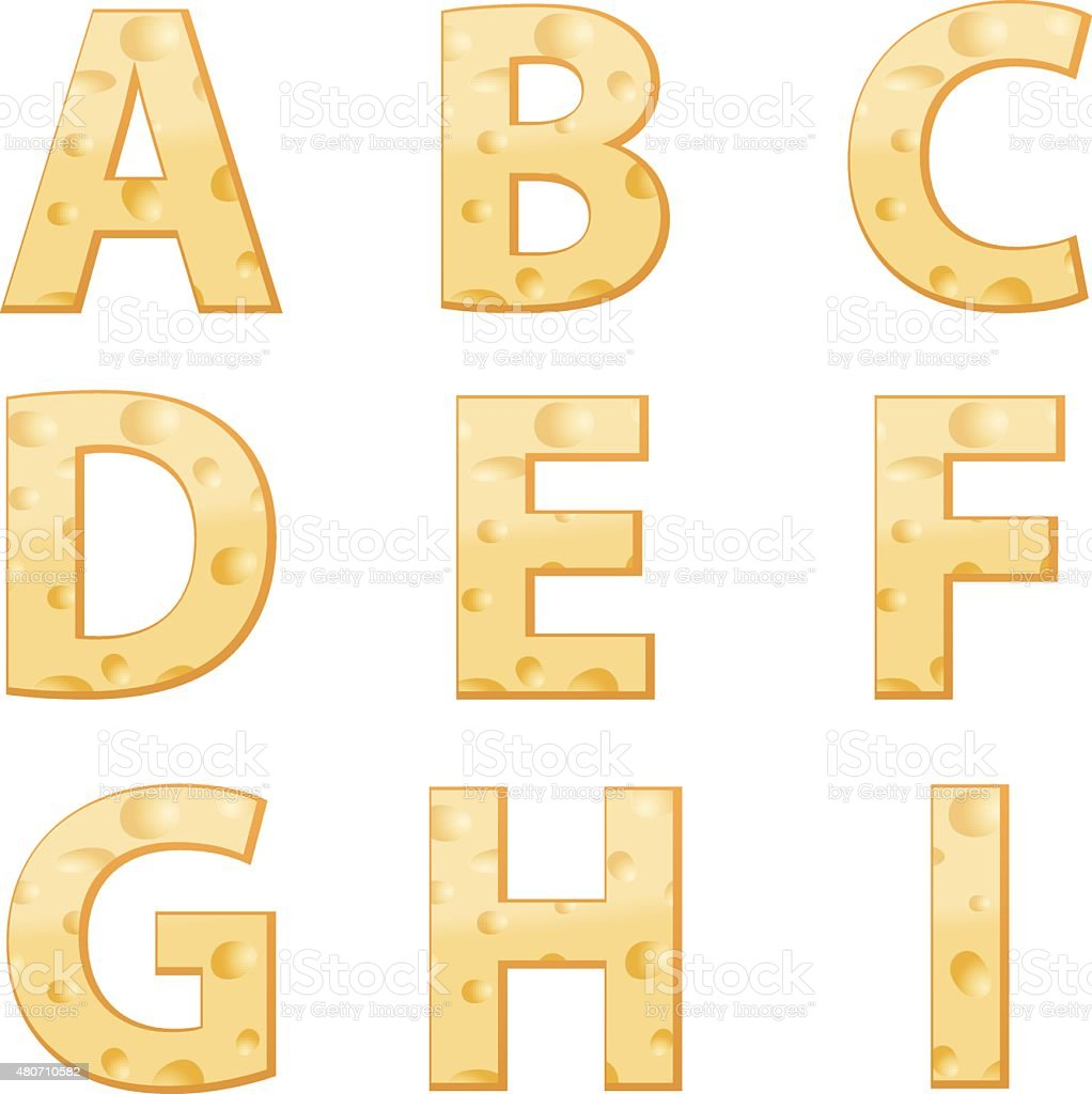 Cheese alphabet A to I vector art illustration