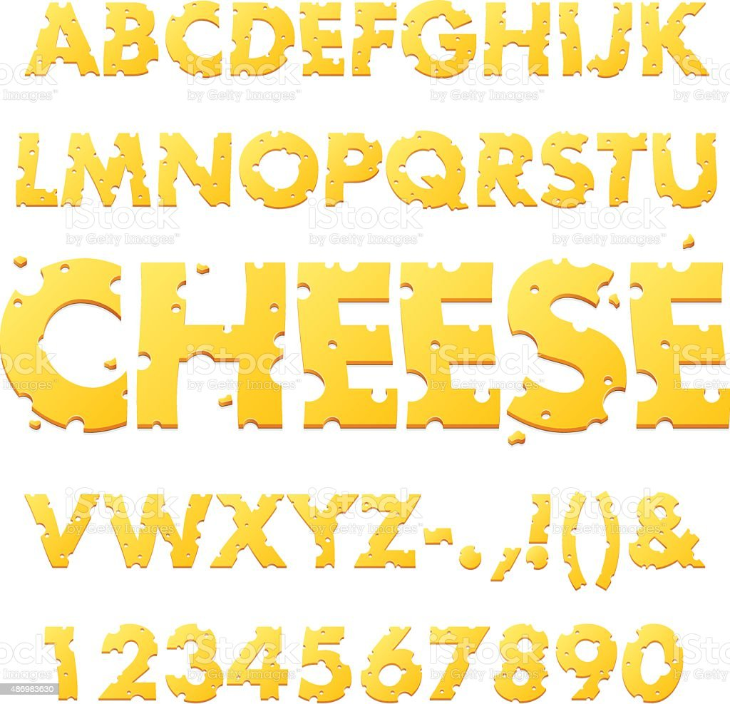 Cheese Alphabet Letters vector art illustration