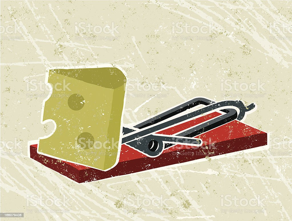 Cheese and mousetrap vector art illustration