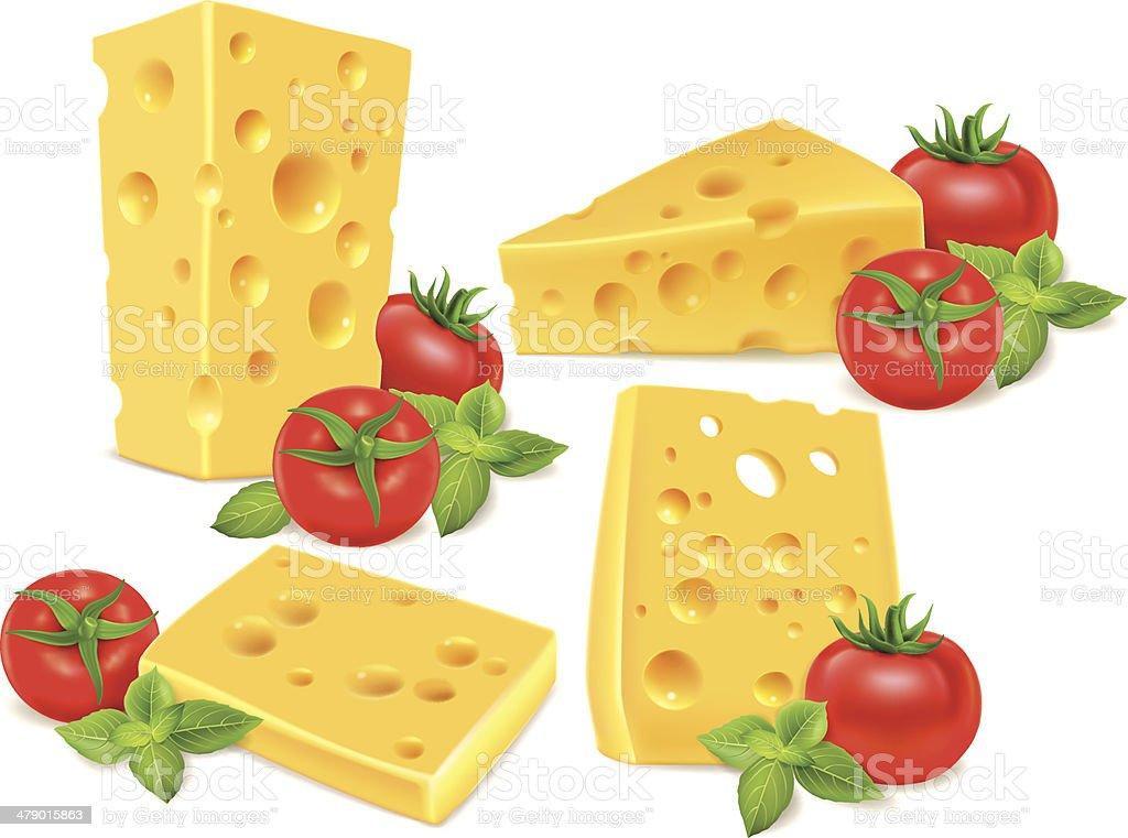 Cheese, cherry tomatoes, basil vector art illustration