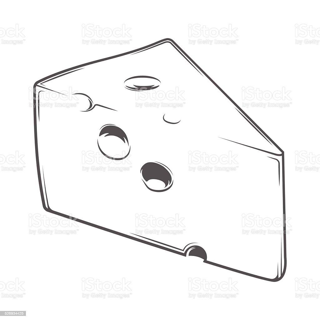 Cheese Chunk vector art illustration