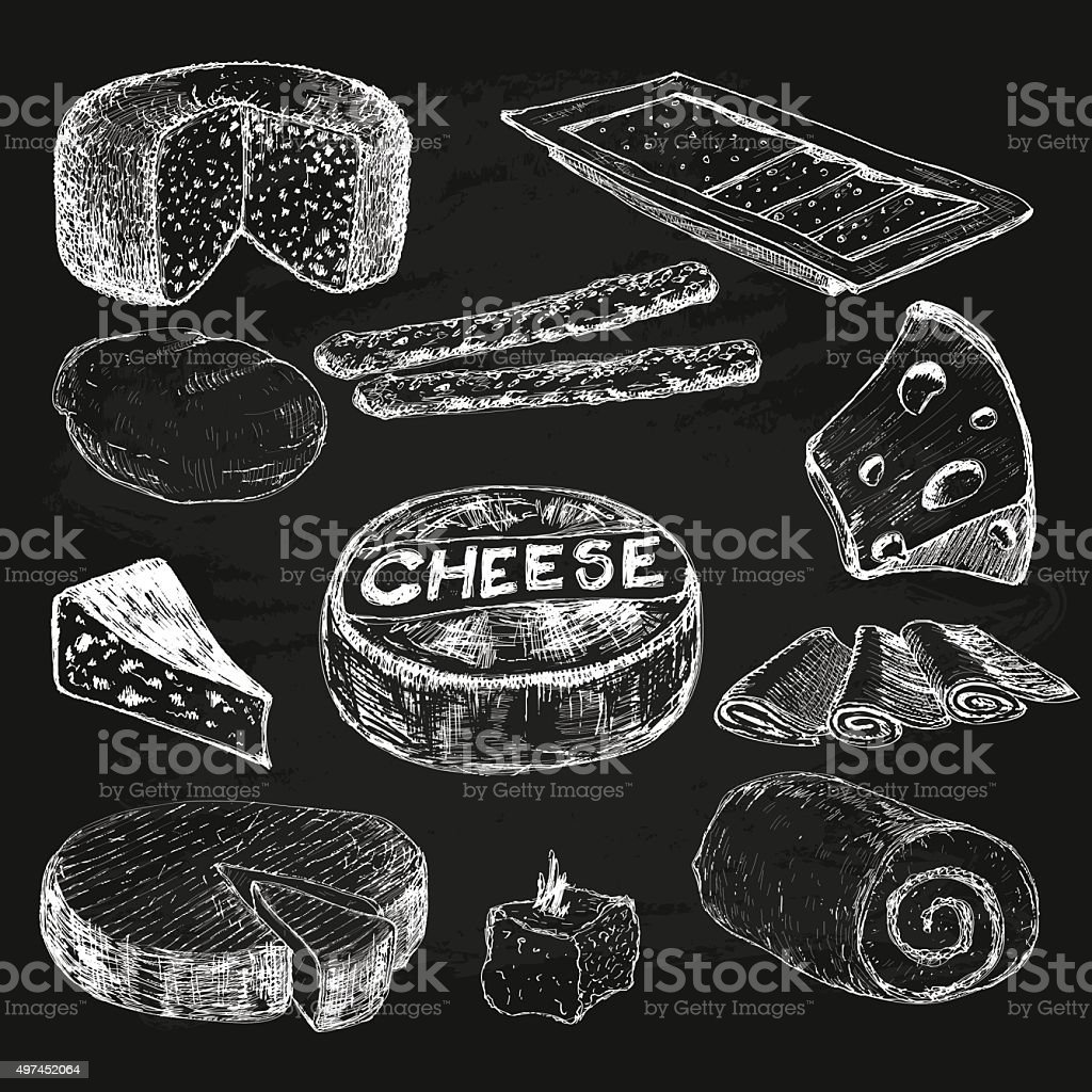 Cheese. Collection of graphic illustrations vector art illustration