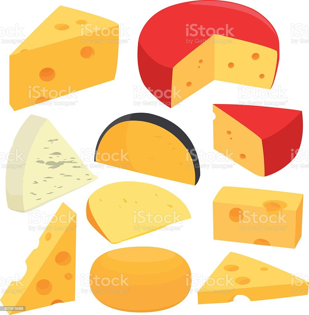 Cheese collection vector art illustration