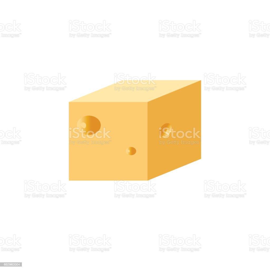 Cheese cube vector art illustration