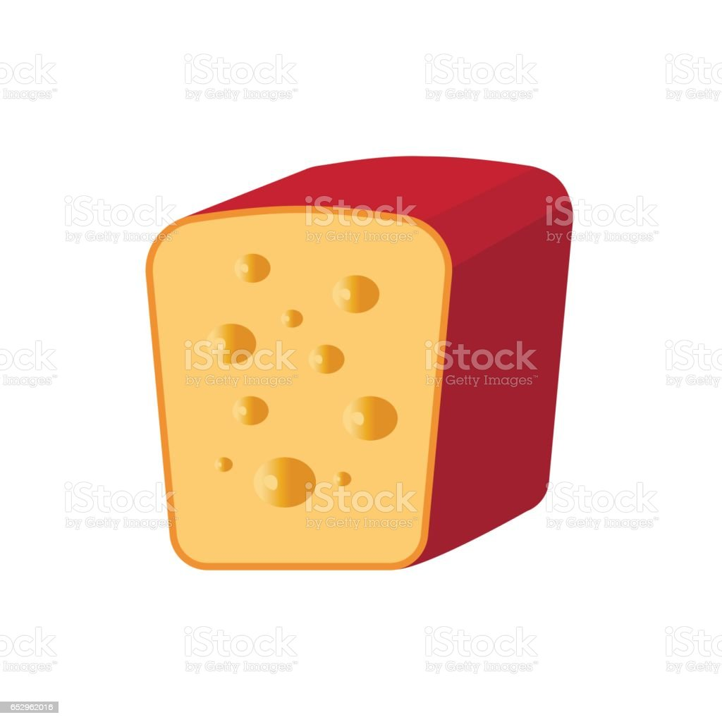 Cheese cut in half vector art illustration