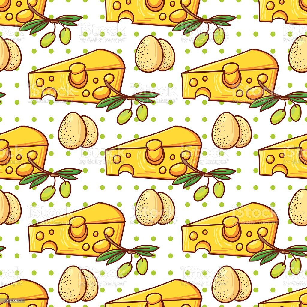Cheese, egg and olive pattern vector art illustration