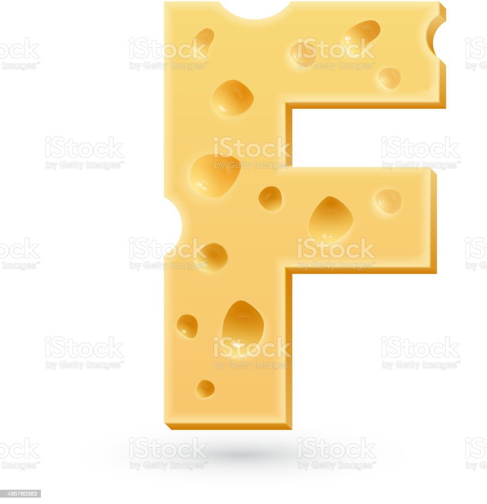 Cheese F letter. Symbol isolated on white. vector art illustration