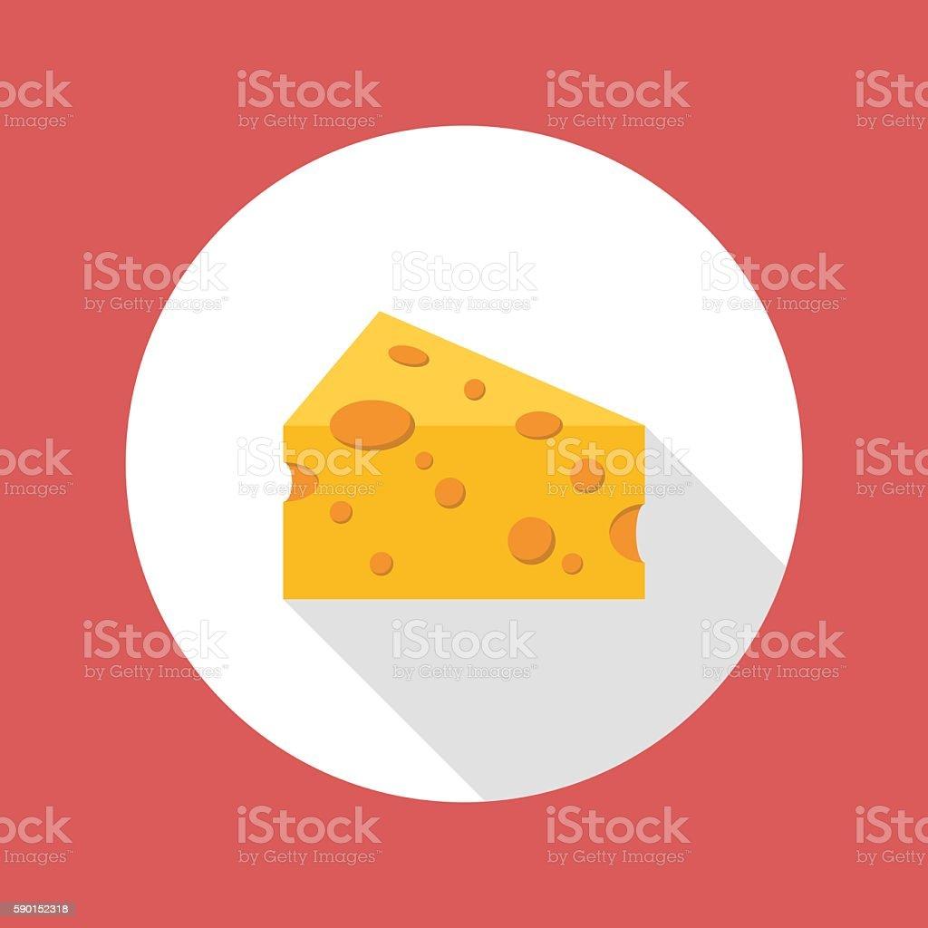 Cheese flat style icon vector art illustration