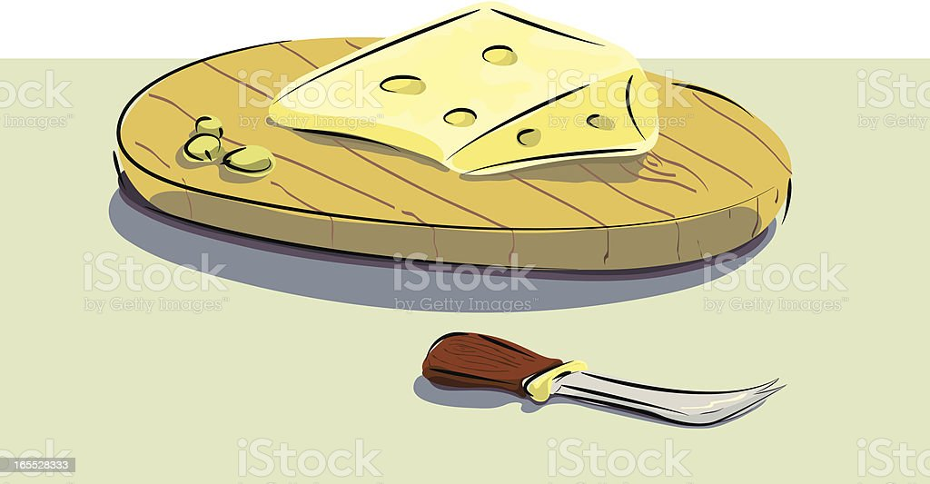Cheese, grapes, Cheeseboard and knife. royalty-free stock vector art