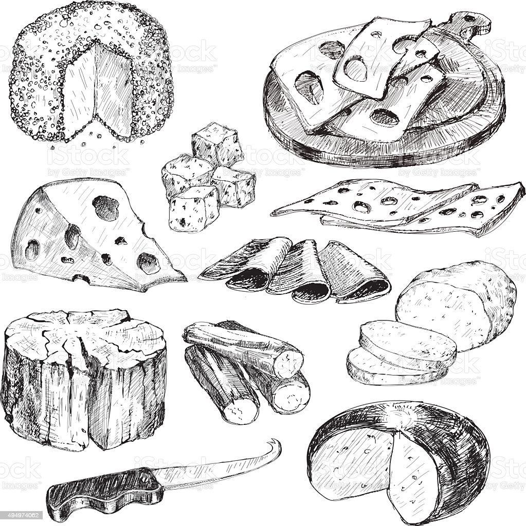 Cheese. Hand drawn collection vector art illustration