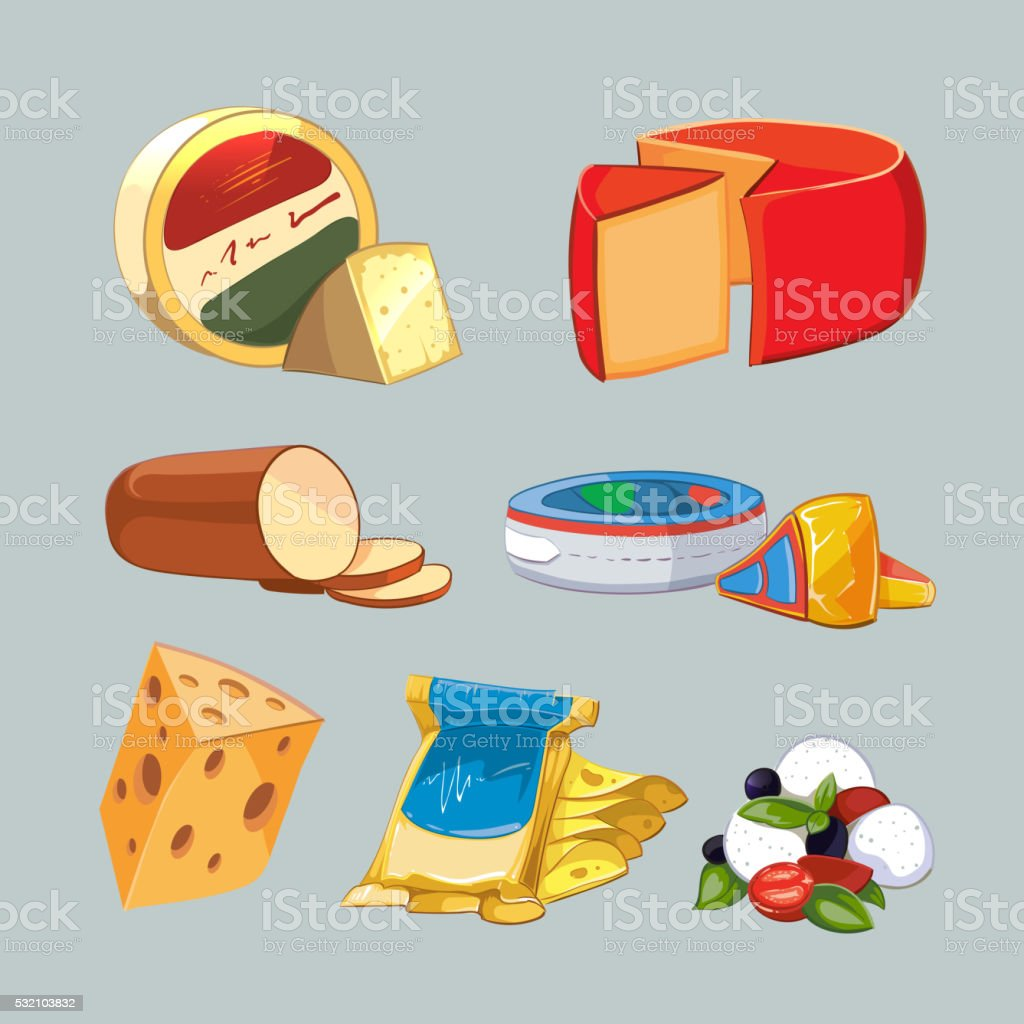 Cheese in packaging. Vector set cartoon style vector art illustration