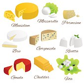 Cheese isolated food set different types illustration vector