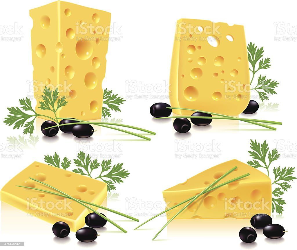 Cheese, olives, onion, parsley royalty-free stock vector art