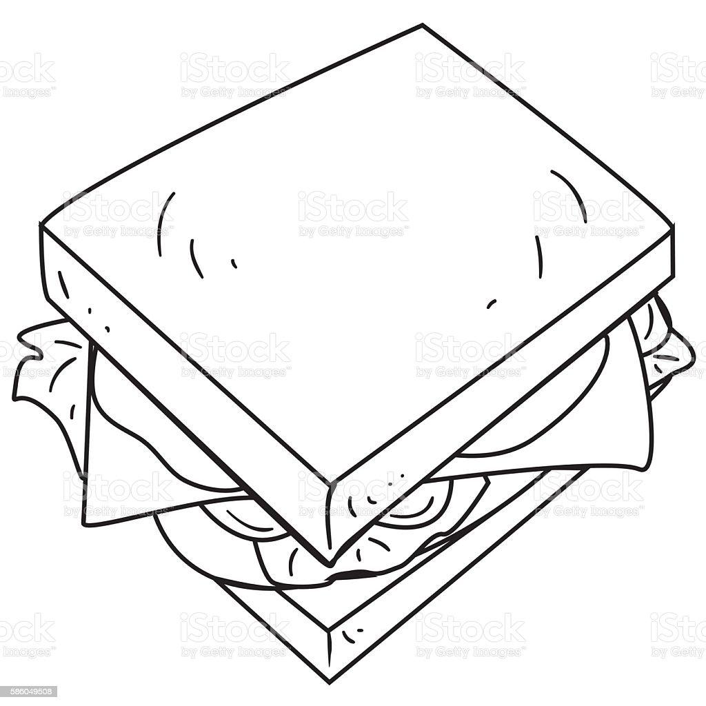 Cheese Sandwich Doodle vector art illustration