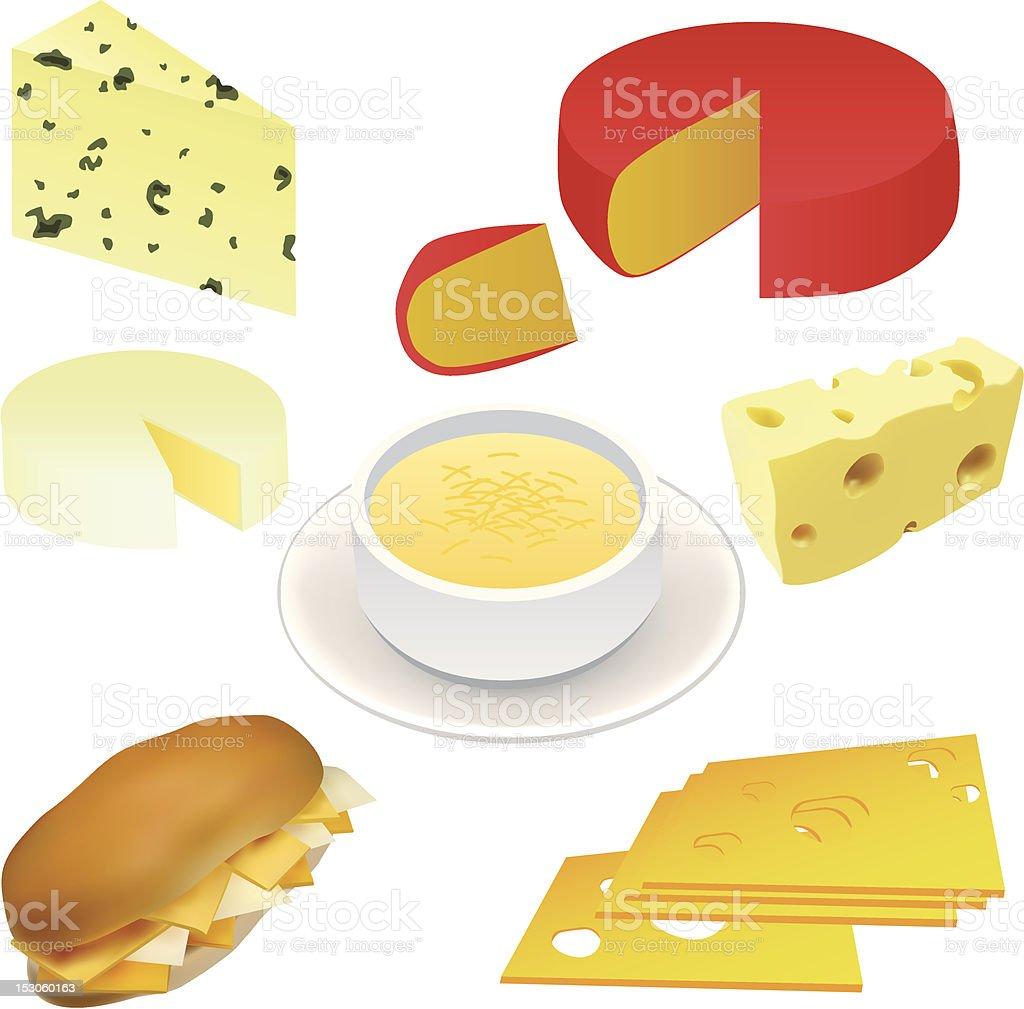 cheese set vector art illustration