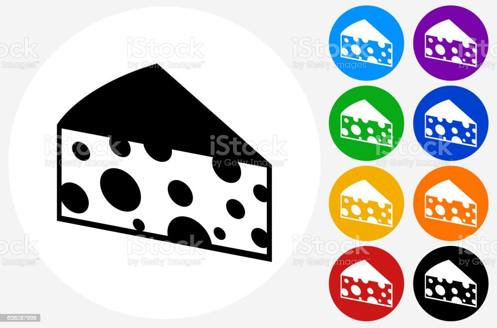 Cheese Slice Icon on Flat Color Circle Buttons vector art illustration