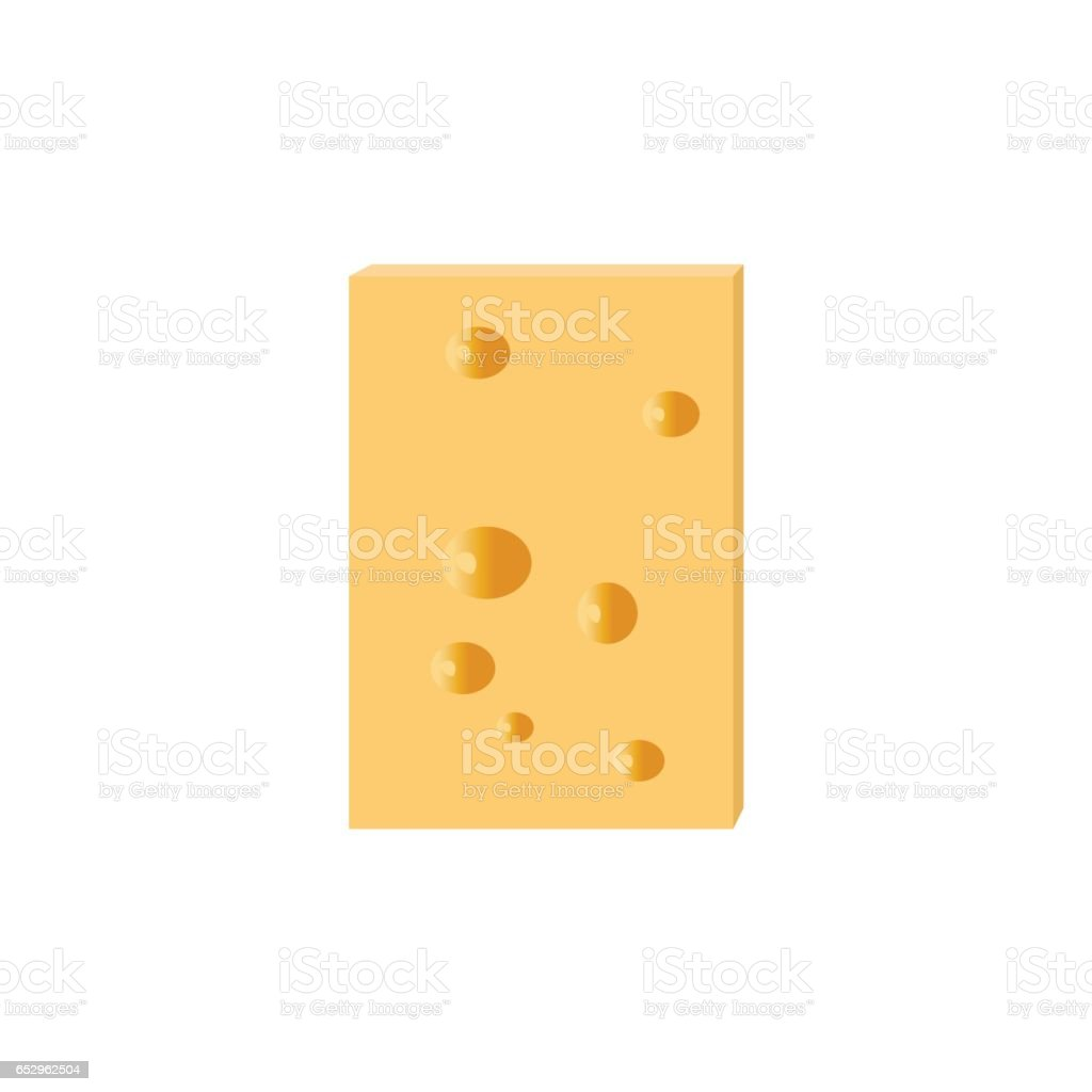 Cheese slice with holes vector art illustration