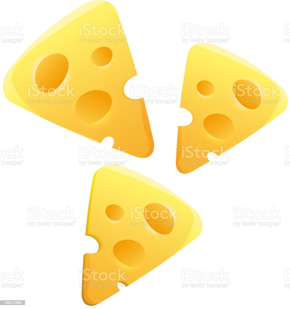 Cheese slices on white background royalty-free stock vector art