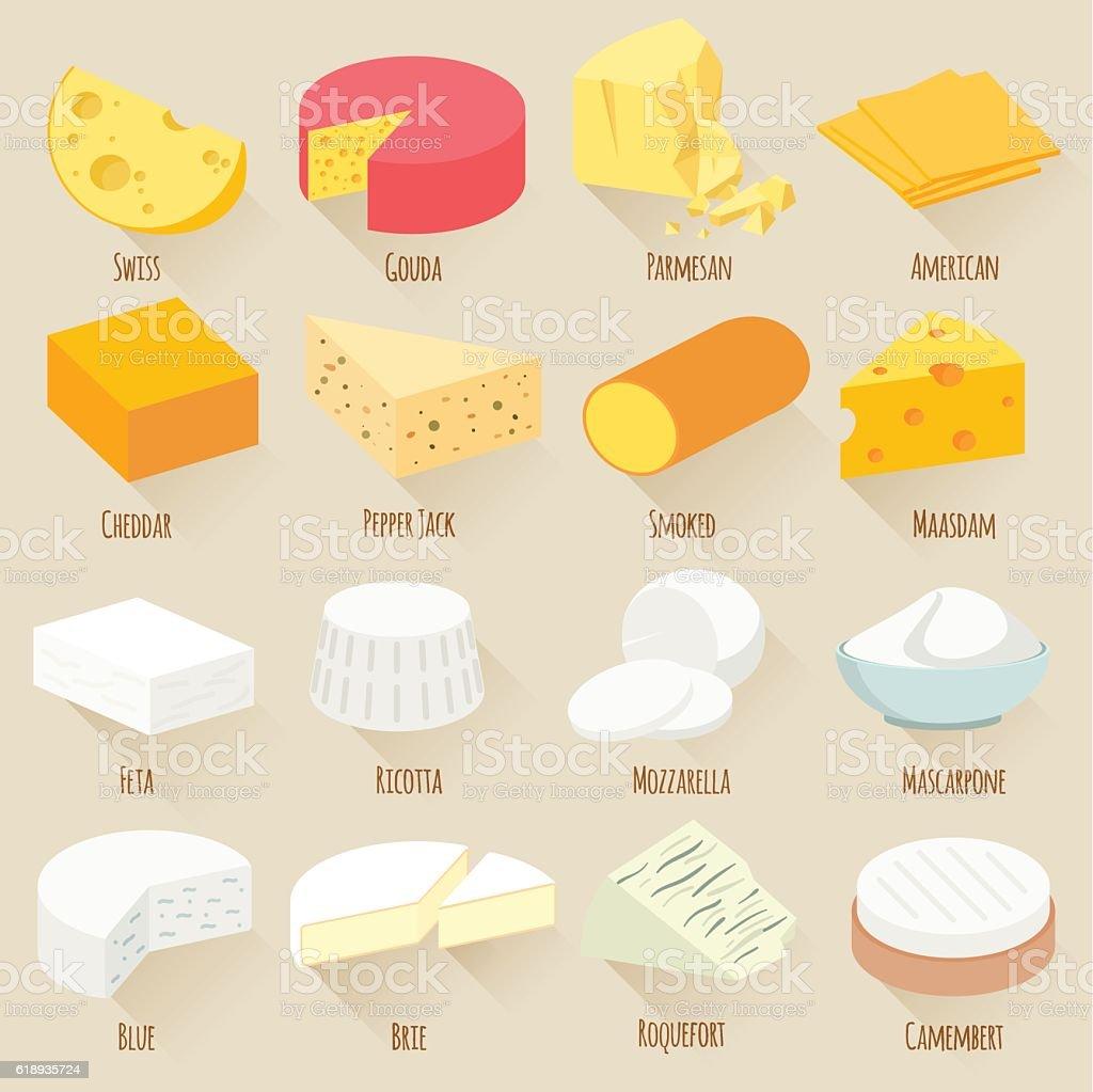 Cheese varieties. Flat design vector icon set. vector art illustration