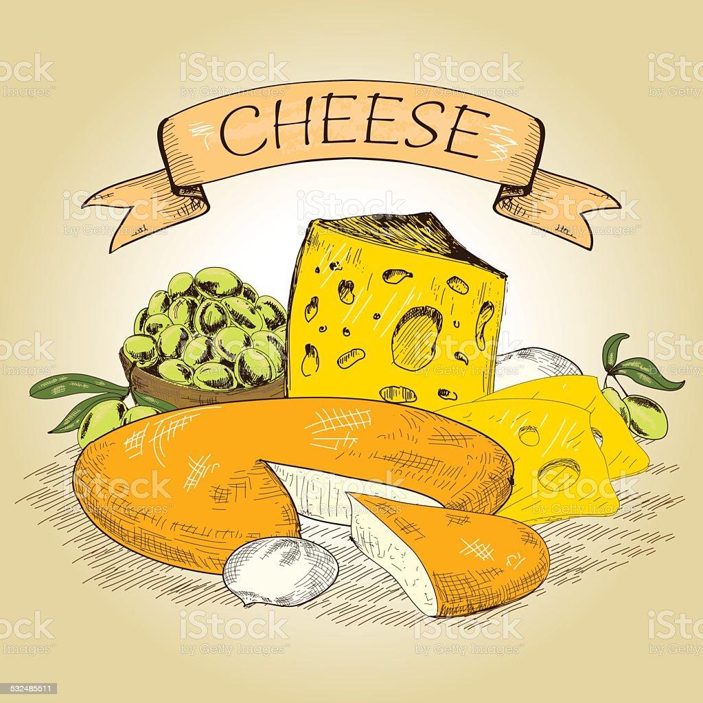 Cheese. vector art illustration