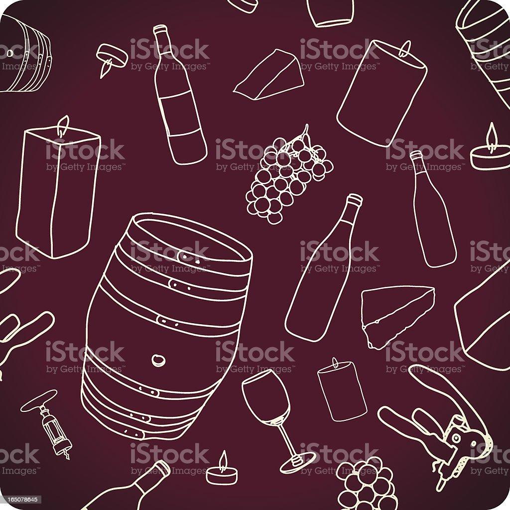 Cheese & Wine vector art illustration